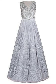 Grey Embroidered Gown by Nitya Bajaj