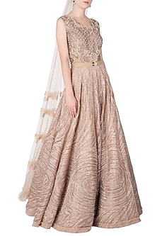 Nude Embroidered Gown by Nitya Bajaj