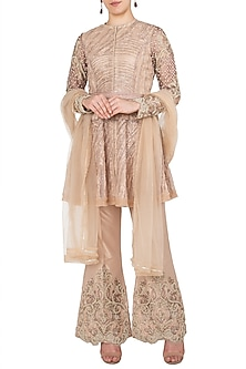 Beige Embroidered Tunic with Flared Pants by Nitya Bajaj