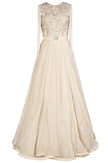 Ivory Embellished Gown by Nitya Bajaj