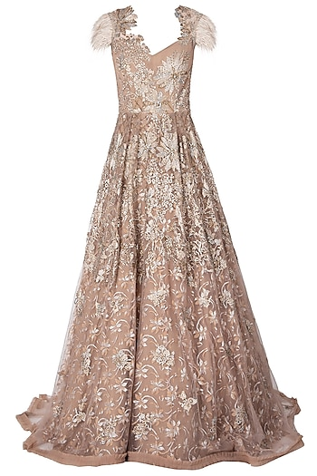 Gold Embellished Gown by Nitya Bajaj