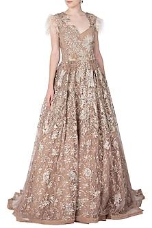 Gold Embellished Gown by Nitya Bajaj