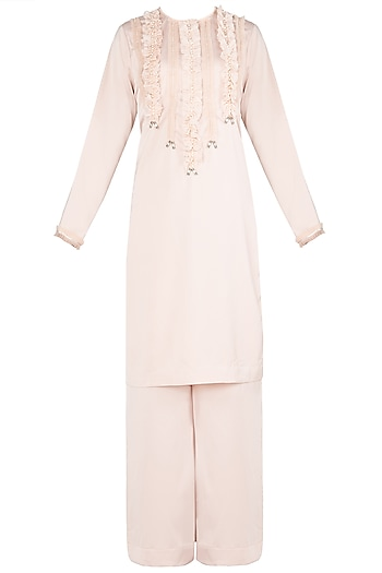 Peach Embroidered Kurta Set by Nitya Bajaj