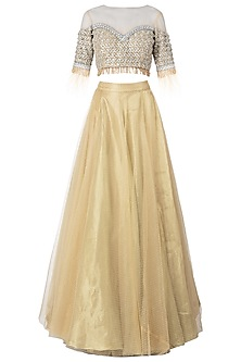 Gold Embellished Lehenga Set by Nitya Bajaj