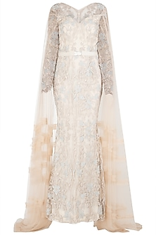 Ivory Embroidered Trail Gown by Nitya Bajaj