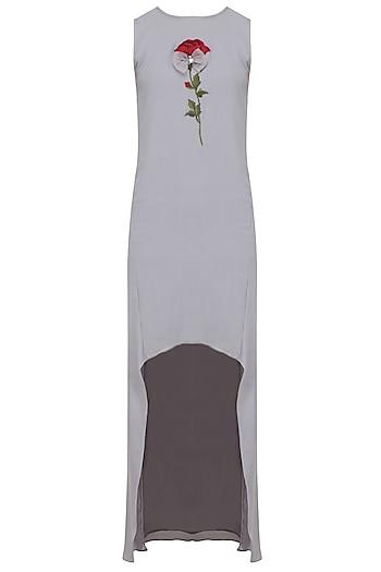 Grey Rose Embroidered Asymmetric Tunic by Nitya Bajaj