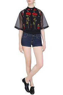 Black Rose Embroidered Valentine's Summer Jacket by Nitya Bajaj