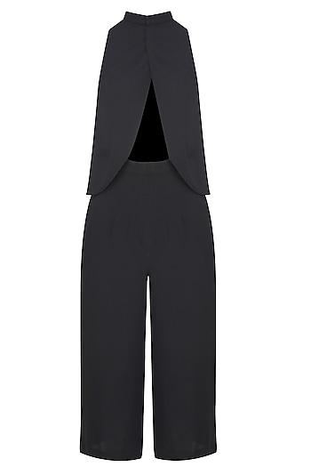 Black Valentine Petal Embroidered Trouser Cape Set by Nitya Bajaj