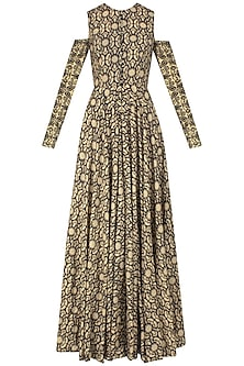 Black and Beige Printed Split Detachable Sleeves Anarkali and Palazzos by Nitya Bajaj