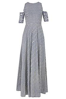 Blue and Beige Printed Split Sleeves Maxi Dress by Nitya Bajaj