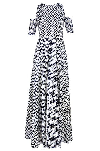 Blue and Beige Printed Split Sleeves Maxi Dress by Nitya Bajaj