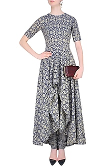 Blue and Beige Printed Asymmetric Kurta Set by Nitya Bajaj