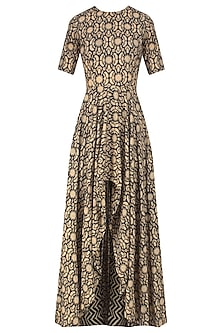Black and Beige Printed Asymmetric Kurta Set by Nitya Bajaj
