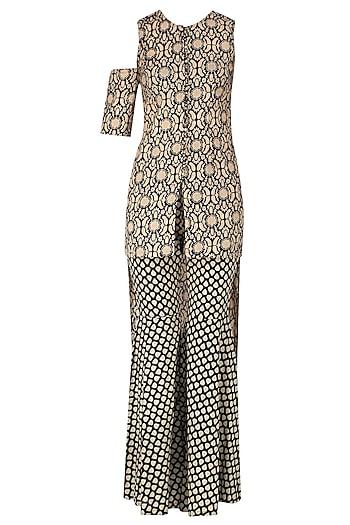 Black and Beige High Low Printed Asymmetric Tunic with Sharara Pants by Nitya Bajaj