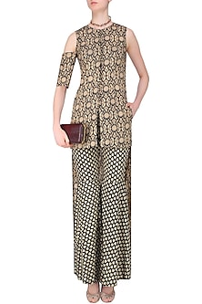Black and Beige High Low Printed Asymmetric Tunic with Sharara Pants by Nitya Bajaj