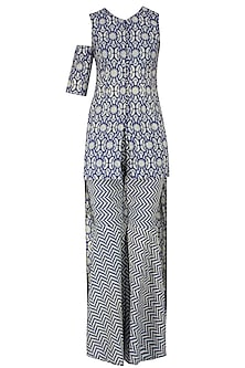 Blue and Beige High Low Printed Asymmetric Tunic with Sharara Pants by Nitya Bajaj