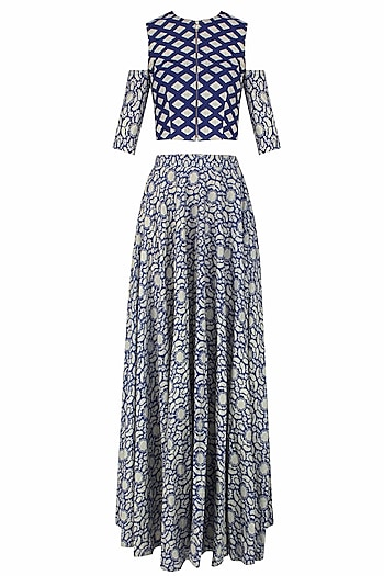 Blue and Beige Printed Split Sleeves Crop Top with High Waisted Lehenga Skirt by Nitya Bajaj