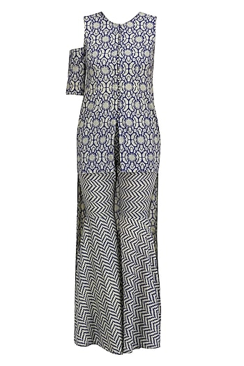 Blue and Beige Printed Asymmetric Tunic with One Detachable Split Sleeve and Sharara Pants by Nitya Bajaj