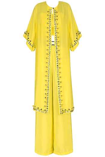 Yellow Crop Top with Palazzo Pants and Embroidered Cape Set by Nitya Bajaj