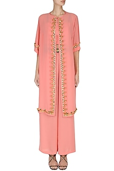 Peach Crop Top with Palazzo Pants and Embroidered Cape Set by Nitya Bajaj