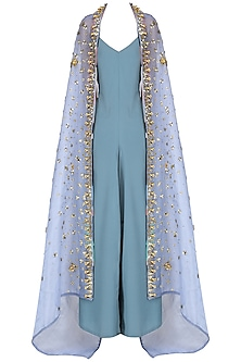 Grey Jumpsuit with Blue Embroidered Cape Set by Nitya Bajaj