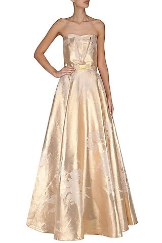 Gold Jacquard Tube Gown by Nitya Bajaj