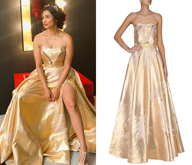 Gold Jacquard Tube Gown by Nitya Bajaj