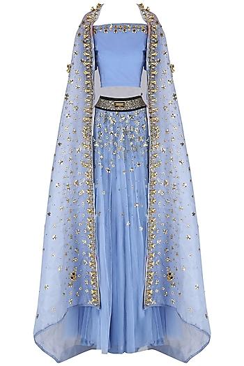 Sky Blue Embroidered Lehenga Set with Cape Set by Nitya Bajaj