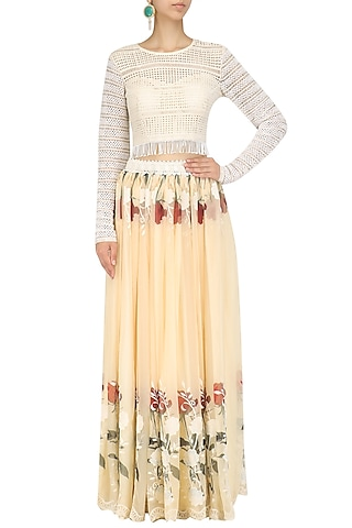 Ivory Crop Top and Floral Work Skirt Set by Nitya Bajaj