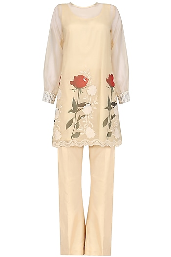 Beige Floral Pakistani Tunic and Bell Bottoms Set by Nitya Bajaj