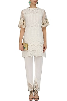 Ivory Pakistani Tunic and Fitted Pants Set by Nitya Bajaj