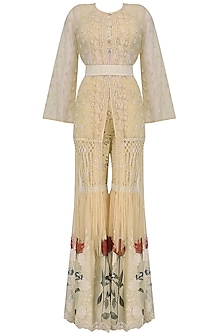 Beige Cutwork Crop Top, Jacket and Sharara Pants Set by Nitya Bajaj