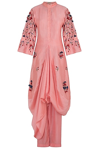 Blush Pink Embroidered Kurta With Pants & Bustier by NE'CHI