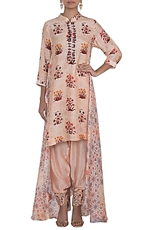 Peach Embroidered Printed Printed Tunic With Dhoti Pants by NE'CHI