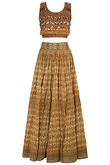 Mustard Embroidered Blouse With Lehenga Skirt by NE'CHI