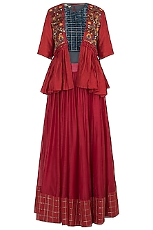 Red Embroidered Peplum Jacket With Blouse & Skirt by NE'CHI