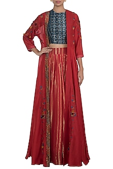 Red Embroidered Printed Cape With Crop Top & Skirt by NE'CHI