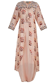 Peach Jumpsuit With Embroidered Printed Cape by NE'CHI