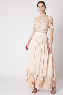 Peach Embroidered Blouse With Skirt by NE'CHI