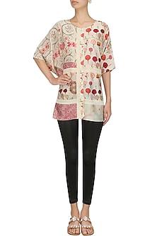 Pink and Ivory Floral Printed Kimono by Niki Mahajan