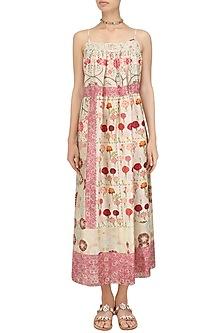 Ivory Vintage Floral Print Strappy Dress by Niki Mahajan
