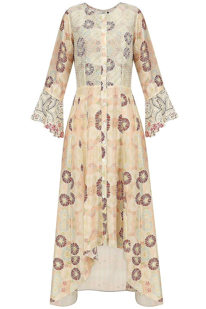 Ivory Vintage Floral Print High Low Dress by Niki Mahajan