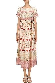 Ivory Vintage Floral Print Mid Length Half Dress by Niki Mahajan