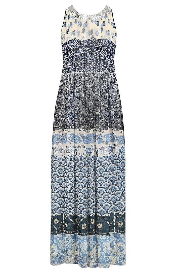 Blue Vintage Print Tiered Dress by Niki Mahajan