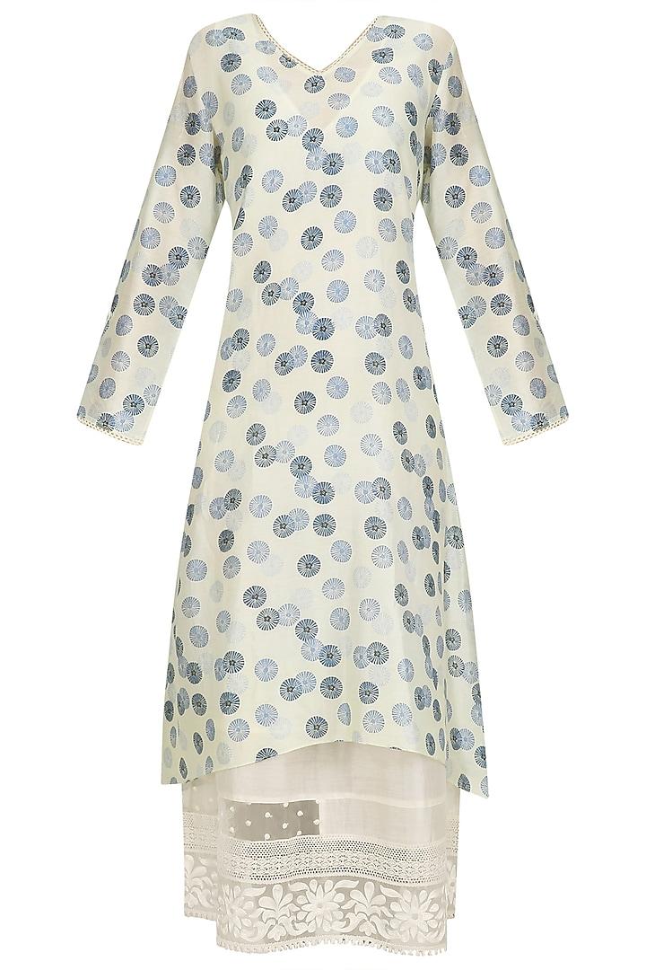 White and Blue Shibori Printed Tunic by Niki Mahajan