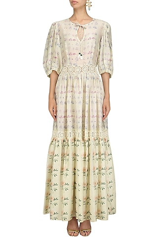 Ivory and Pink Floral Printed Tiered Dress by Niki Mahajan