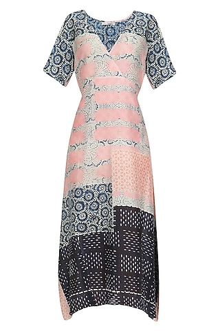 Blue and Pink Handpainted Crossover Body Dress by Niki Mahajan