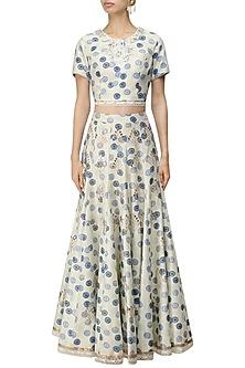 Ivory and Blue Printed Crop Top and Skirt Set by Niki Mahajan