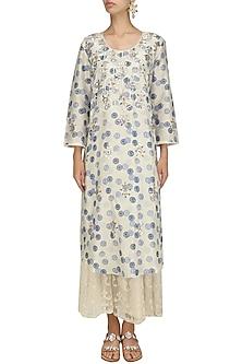 Ivory Vintage Printed Long Kurta and Skirt Set by Niki Mahajan