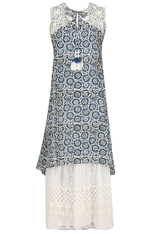 Blue Embroidered Asymmetric Long Tunic by Niki Mahajan